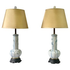 Pair of 20th Century Blue and White Porcelain Vase Lamps