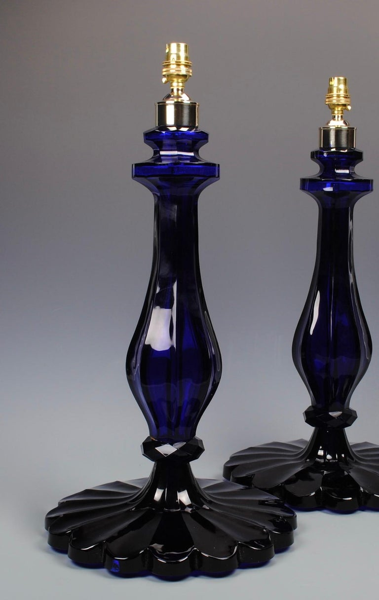 Pair of 20th Century Blue Glass Table Lamps In Good Condition For Sale In London, GB