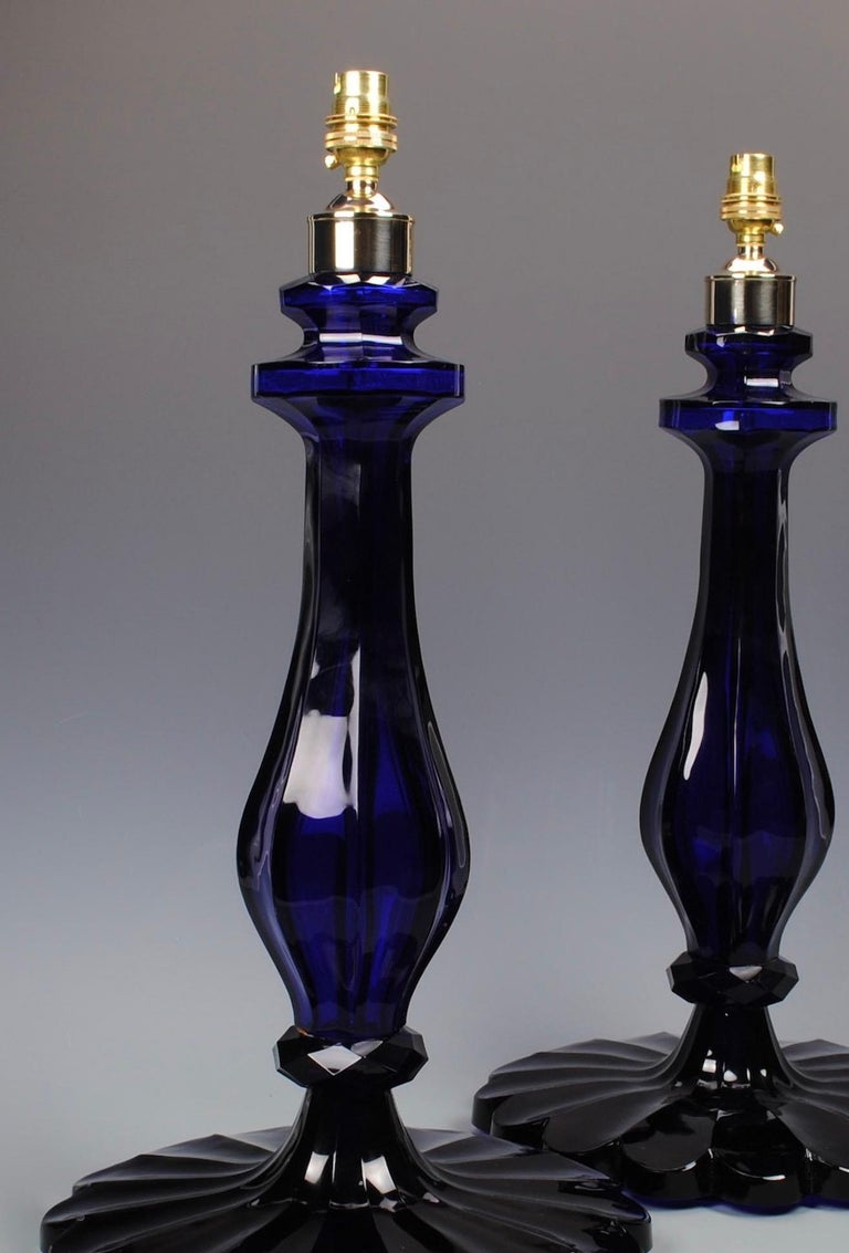 Pair of 20th Century Blue Glass Table Lamps For Sale 1