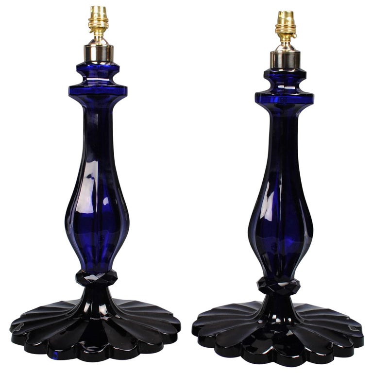 Pair of 20th Century Blue Glass Table Lamps For Sale