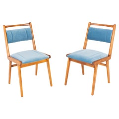 Pair of 20th Century Blue Velvet Chairs, Poland, 1960s