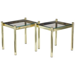 Pair of 20th Century Brass and Glass Side Tables