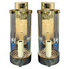 Pair of 20th Century Brass Chapman Sconces with Hurricanes, Labeled, circa 1978