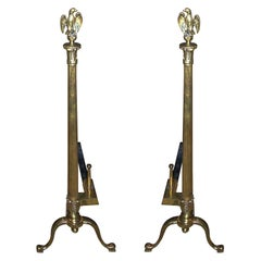 Pair of 20th Century Brass Fluted Column Andirons with Eagle Finials