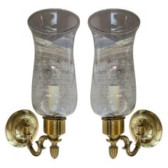 Pair of 20th Century Brass One-Arm Sconces with Hurricanes