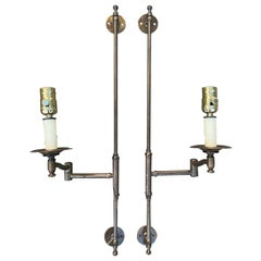 Pair of 20th Century Brass Wall Mount Swing Arm Sconces