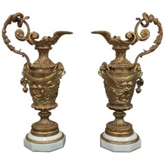 Pair of 20th Century Bronze Ewers