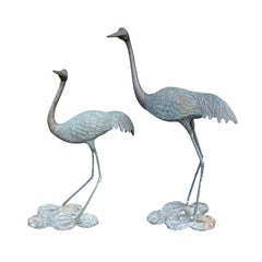 Pair of 20th Century Bronze Herons on Lily Pads