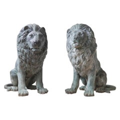 Pair of 20th Century Bronze Italian Lions
