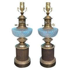 Pair of 20th Century Bronze Lamps with Crystal Oil Fonts