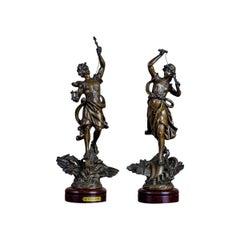 Pair of 20th Century Bronzed Zamak Figurines