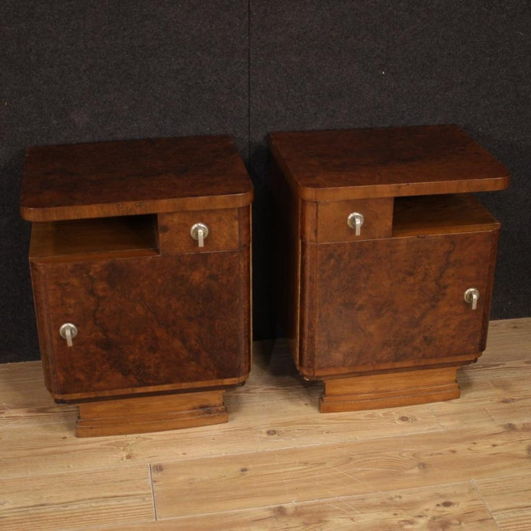 Pair of 20th Century Burl and Walnut Wood Italian Bedside Tables, 1950 For Sale 8
