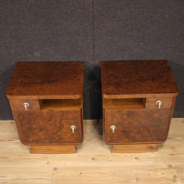 Pair of 20th Century Burl and Walnut Wood Italian Bedside Tables, 1950 For Sale 1