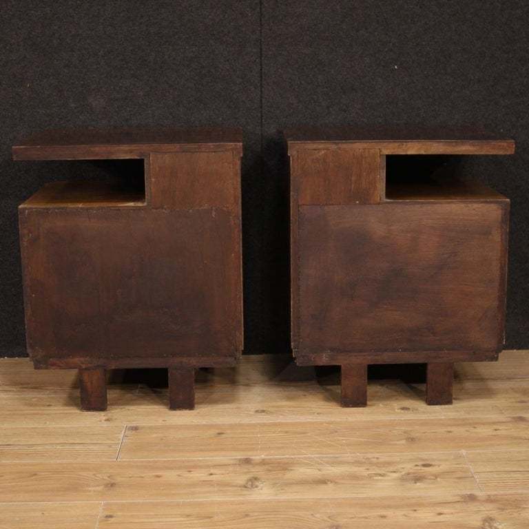 Pair of 20th Century Burl and Walnut Wood Italian Bedside Tables, 1950 For Sale 5