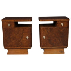 Pair of 20th Century Burl and Walnut Wood Italian Bedside Tables, 1950