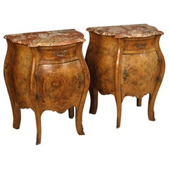 Pair of 20th Century Burl Walnut and Rosewood Marble-Top Italian Bedside Tables