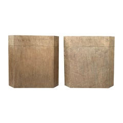 Pair of 20th Century Burled Maple Boxes as Side Tables by Worrells Interiors