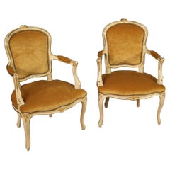 Pair of 20th Century Carved, Lacquered and Gilded Wood Italian Armchairs, 1950