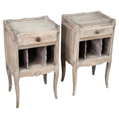 Pair of 20th Century Carved Painted Wood Shabby Chic French Nightstands, 1970