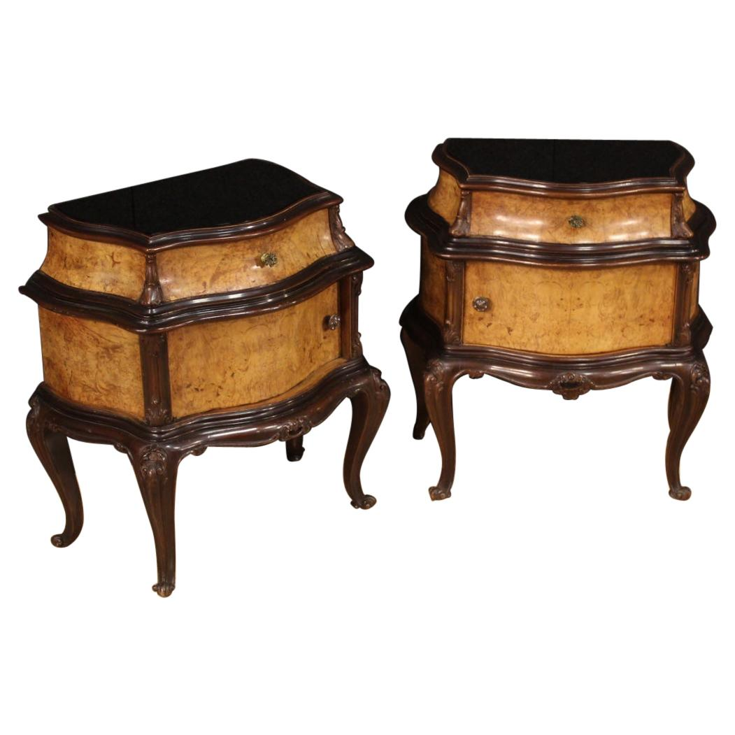 Pair of 20th Century Carved Wood Vintage Italian Bedside Tables, 1960