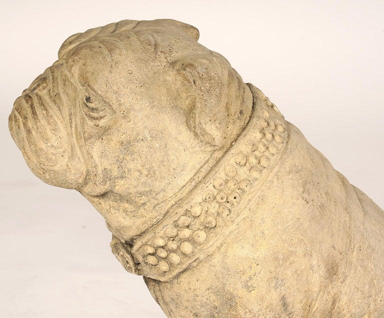 Pair of 20th Century Cast Cement English Bulldogs 2
