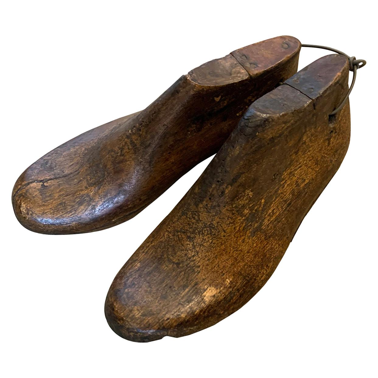 Pair of 20th Century Children's Wooden Shoe Molds
