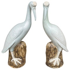 Pair of 20th Century Chinese Celadon Porcelain Cranes on Craggy Rocks