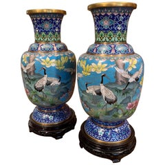 Pair of 20th Century Chinese Champlevé Enamel Vases on Stand with Bird Decor
