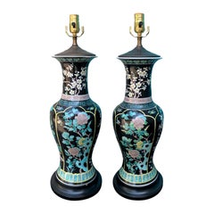 Pair of 20th Century Chinese Famille Noir Porcelain Lamps