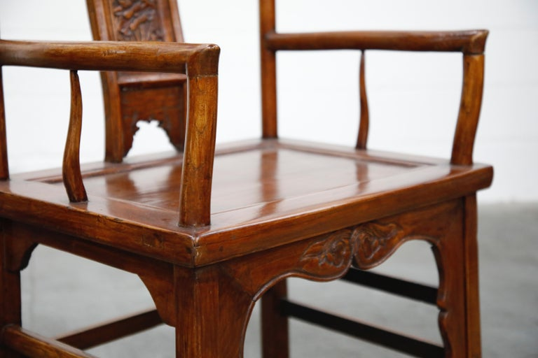 Pair of 20th Century Chinese Hardwood Carved Armchairs For Sale 4