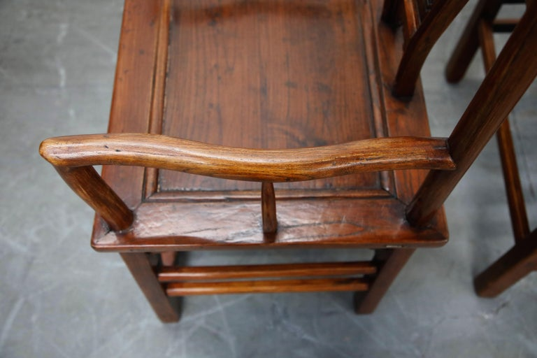 Pair of 20th Century Chinese Hardwood Carved Armchairs For Sale 11