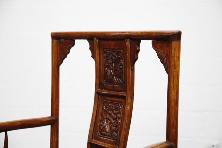 Pair of 20th Century Chinese Hardwood Carved Armchairs For Sale 1