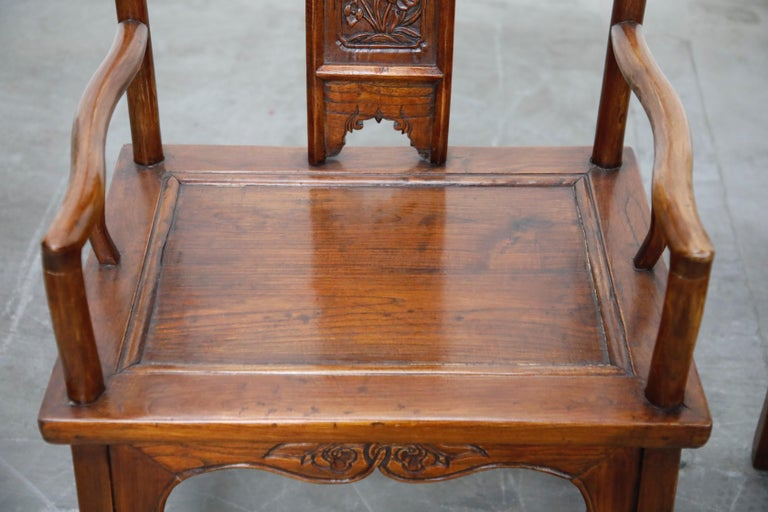 Pair of 20th Century Chinese Hardwood Carved Armchairs For Sale 2