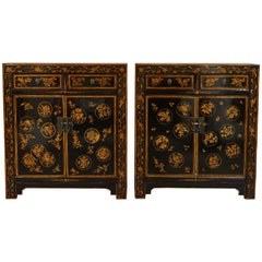 Pair of 20th Century Chinese Painted Side Cabinets