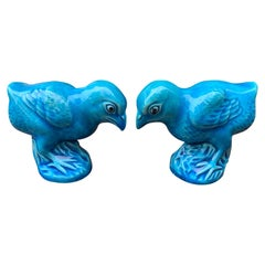 Pair of 20th Century Chinese Turquoise Glazed Porcelain Chicks, Impressed Mark
