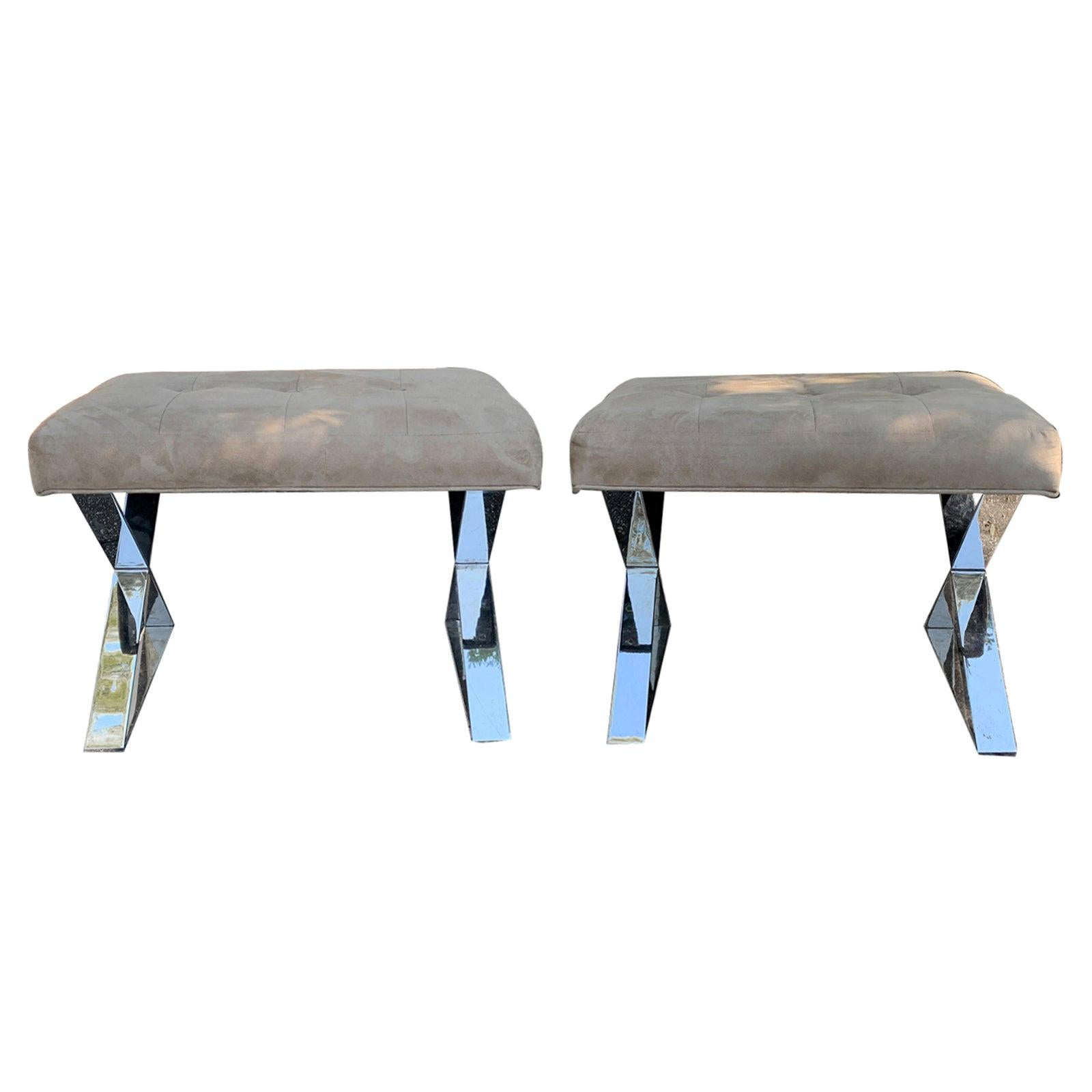 Pair of 20th Century Chrome X Benches, Suede Seats in the Style of Milo Baughman