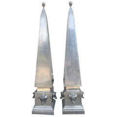 Pair of 20th Century circa 1970s Pewter Obelisks with Boar's Heads