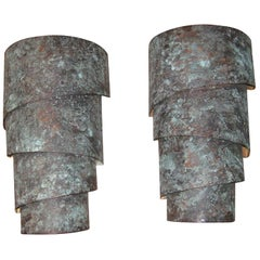 Pair of 20th Century Copper Oxidized Sconces