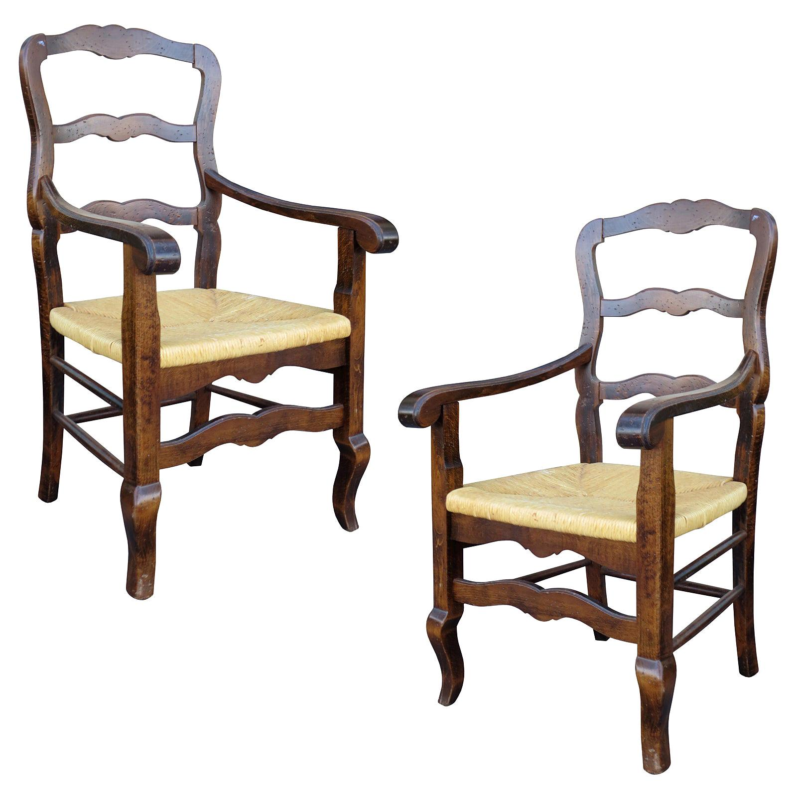 Pair of 20th Century Country French Armchairs with Rush Seats