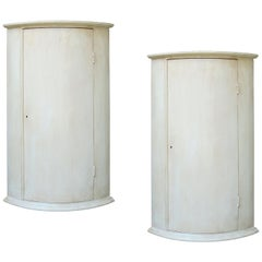 Pair of 20th Century Custom Made and Custom Painted Corner Cabinets