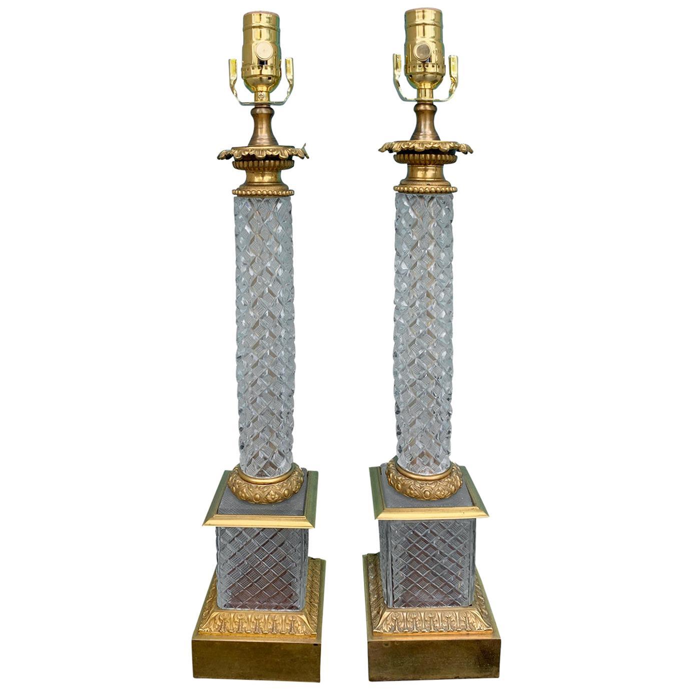 Pair of 20th Century Cut Crystal Bronze Dore Column Lamps
