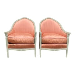 Pair of 20th Century Deco Style French Upholstered Armchairs / Barrel Chairs