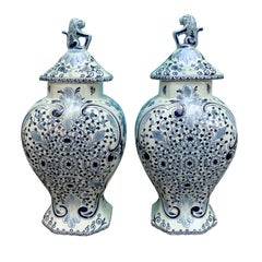 Pair of 20th Century Delft Blue & White Lidded Jars, Marked