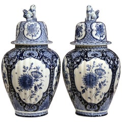 Pair of 20th Century Dutch Painted Blue and White Faience Delft Ginger Jars