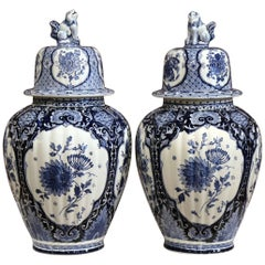 Pair of 20th Century Dutch Painted Blue and White Maastricht Delft Ginger Jars