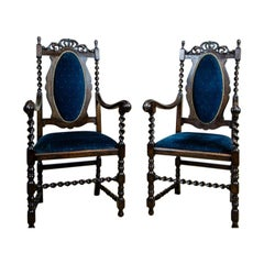 Pair of 20th Century Eclectic Carved Armchairs