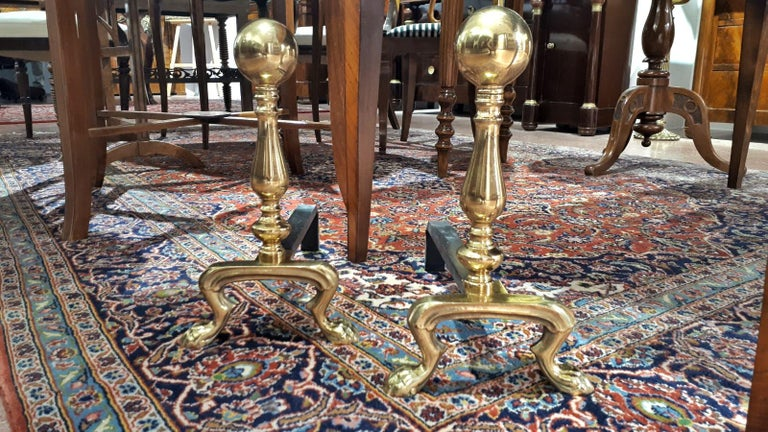 French Pair of Early 20th Century Empire Polished Brass and Iron Andirons  For Sale