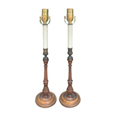 Pair of 20th Century English George III Candlesticks as Lamps