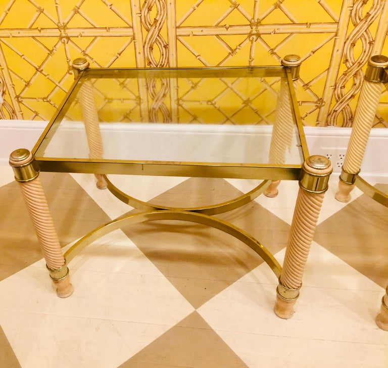 Pair of 20th Century English Gilt Metal Carved Wood Glass Top Tables For Sale 8