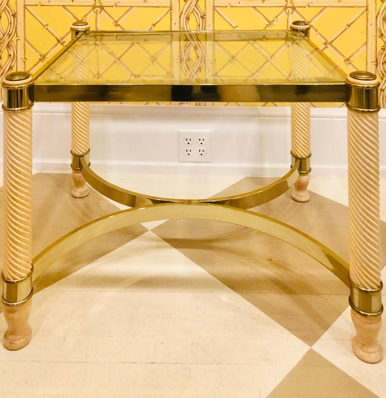 Regency Revival Pair of 20th Century English Gilt Metal Carved Wood Glass Top Tables For Sale